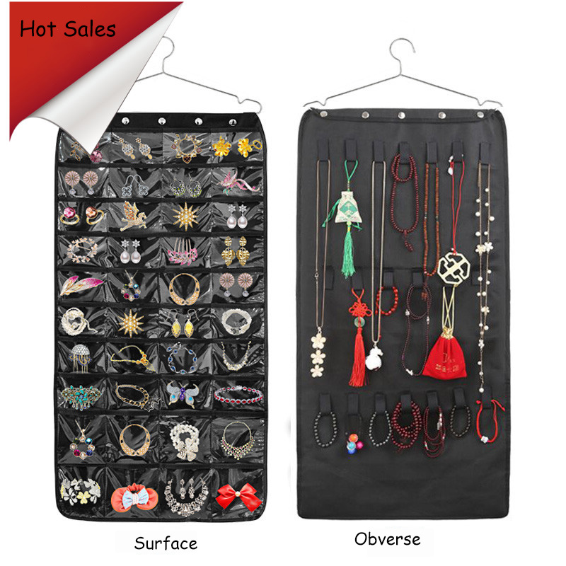 Multi-Pocket Jewelry Organizer Large  Capacity Foldable Jewelry Storage Bag Double Sided Necklace Bracelet Hanging Pouch Display