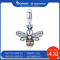 Bamoer genuine 925 prata esterlina cristal abelha charme ajuste feminino charme pulseiras diy jóias namorada presente scc821