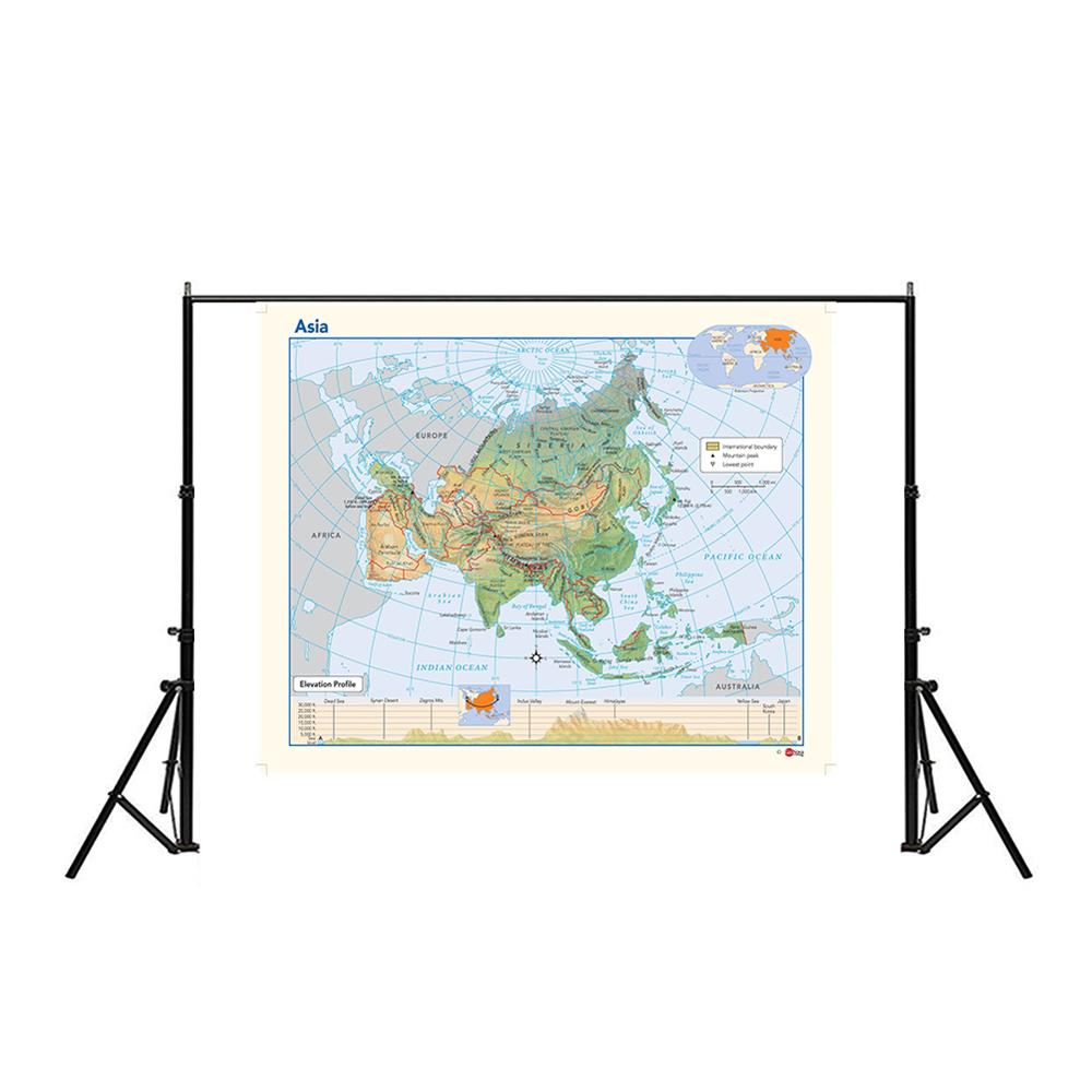 150x100cm Non-woven Waterproof Map Of Asia Elevation Profile Without National Flag For Education