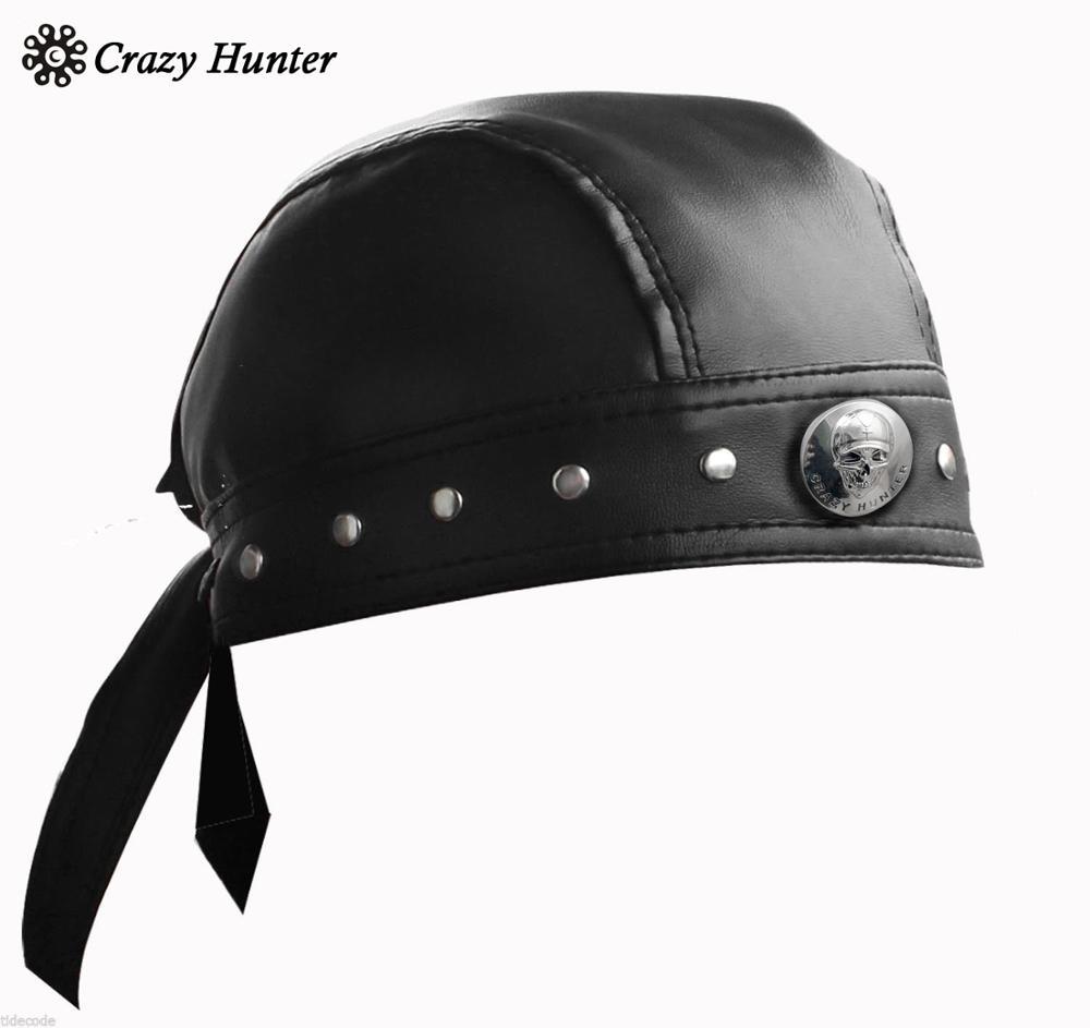 Leather Bandana Biker Doo Do Rag Headwrap Motorcycle Mens Skull Cap Capsmith Du RagMens Sun Hats   -