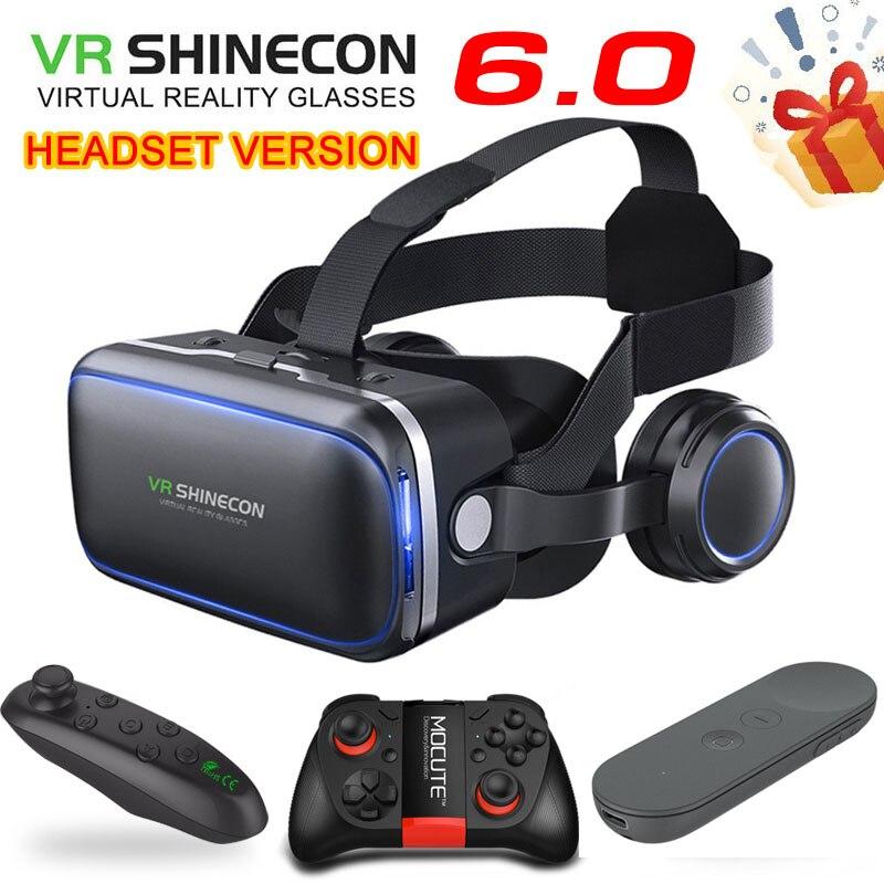 Original vr-shinecon-box 6.0 fone de ouvido versão realidade virtual 3d vr óculos controlador de fone de ouvido para google papelão smartphone