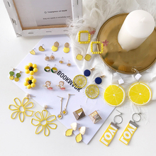 Korean Fashion Women Accessories SummerSweet Lovely Yellow Candy Tassel Dangle Earrings for Girl Cute Jewelry Drop Earrings