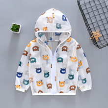 Spring Summer Kids Jacket Hooded Sun Protection Clothing Outwear Jacket Boy Girls Coat Cartoon Long Sleeved Toddler Girl Clothes