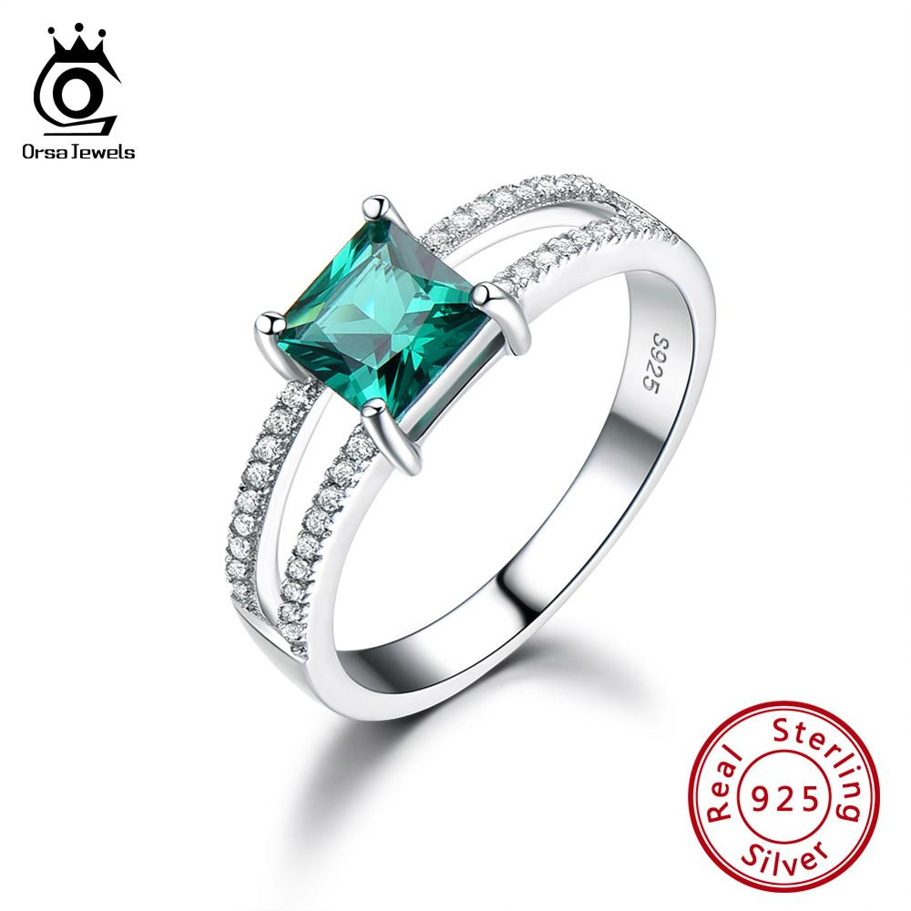 ORSA JEWELS Latest Pure 925 Sterling Silver Fashion Women Ring Square Cut Anniversary Emerald Birthstone Ring Fine Jewelry VSR17
