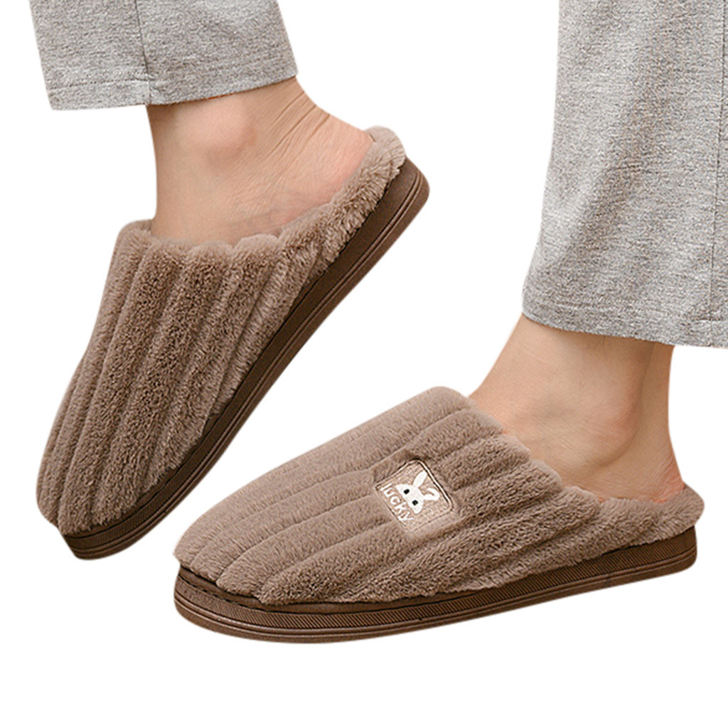 Winter Warm Large Size Mens Women's Couples Rabbit Non-slip Floor Home Flock Cover Toe Slippers Bedroom Shoes sapato masculino