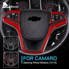 AIRSPEED Carbon Fiber for Chevrolet Camaro 2013 2014 2015 Accessories Interior Trim Car Steering Wheel Cover for Camaro Sticker