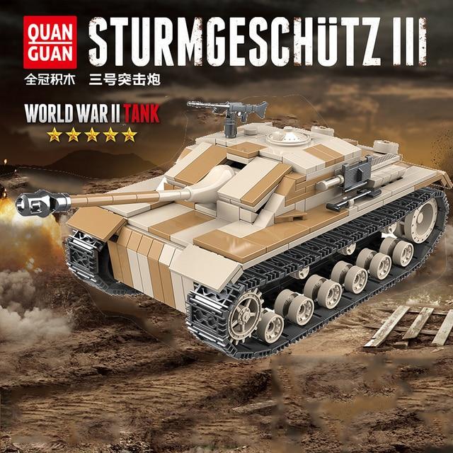 WW2 tanque de bloques de construcción militar de Alemania III, tanque militar de bloques, Arma de soldado del ejército, juego de ensamblaje para niños, juguetes para niños