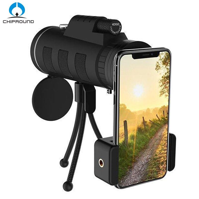 Монокулярный телескоп 40X60 с зумом для смартфона, камеры, кемпинга, походов, рыбалки с компасом, штатив с зажимом для телефона