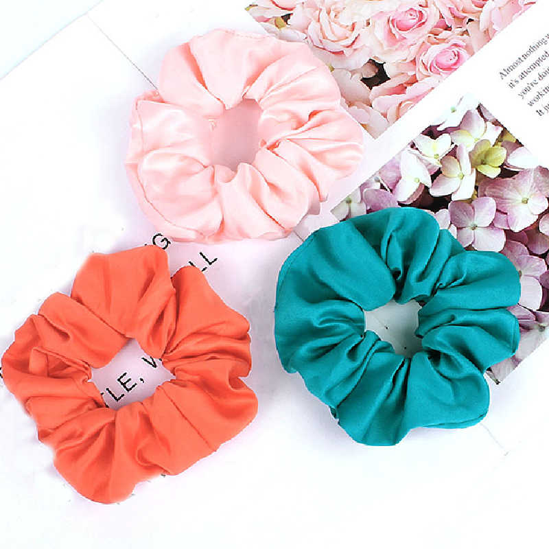 1PC Fashion Women Cute Satin Hair Bands Scrunchies Bright Color Hair Rope Girl's Elastic Hair Ties Accessories Ponytail Holder