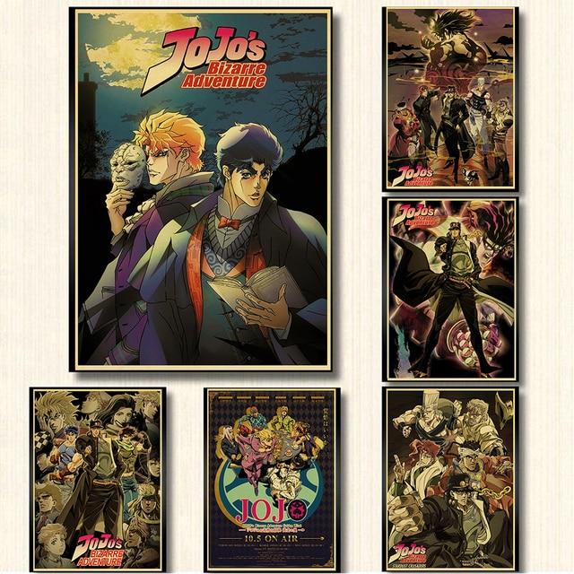 Anime JoJo's Bizarre Adventure JOJO Poster Action Anime retro Poster Painting Wall Art for Living Room /Bar /Cafe room Decor