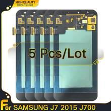 Pantalla LCD Super AMOLED para Samsung Galaxy J7 2015 J700 J700F J700H, repuesto de montaje de digitalizador con pantalla táctil, 5 uds.
