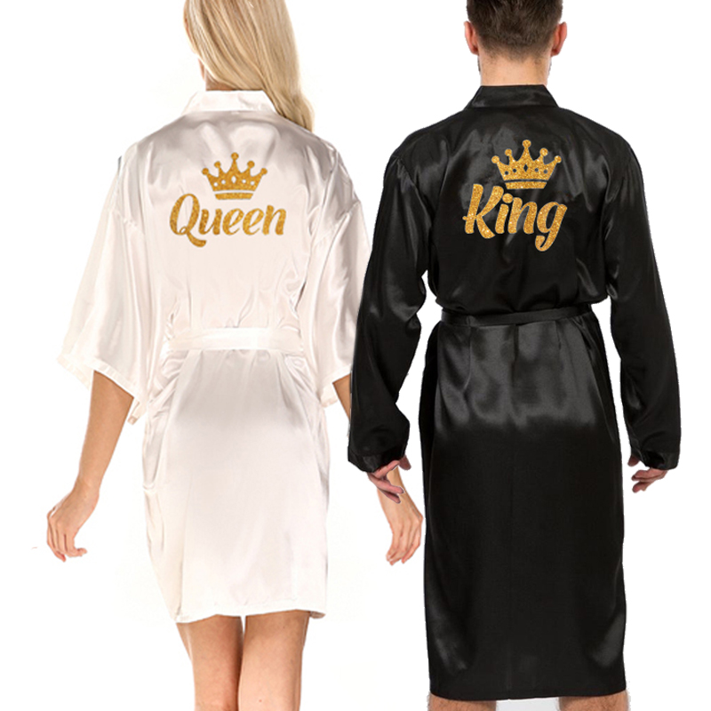 wedding queen king robe men robe satin matching couple kimono Valentine Anniversary gift bridal party 2021 bride groom robes