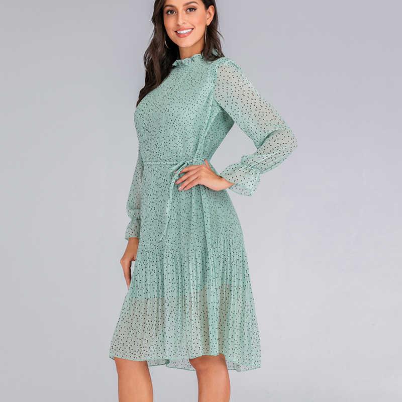 Szyfonowa sukienka w kwiaty Slim fit plisowana spódnica trzy czwarte wysoki kołnierz potargane księżniczka sukienka