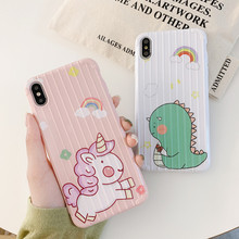 For iphone 8 case silicone cover cartoon  pink unicorn dinosaur cute Phone Case for iPhone 7 Plus 6 6S X XR XS MAX
