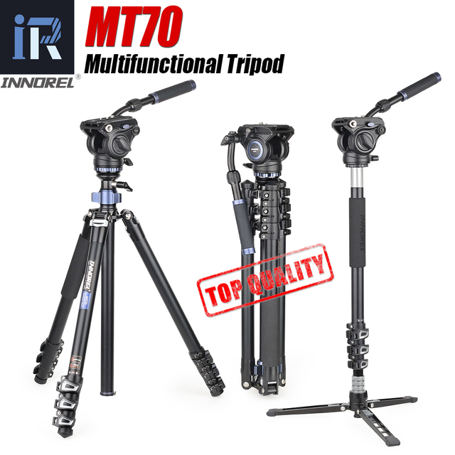 MT70 Video Camera Statief Snelle Flip Gesp Vloeistof Hoofd Panoramisch Half Bal Kom Monopod Stand Base Voor Digitale Dslr Camcorder