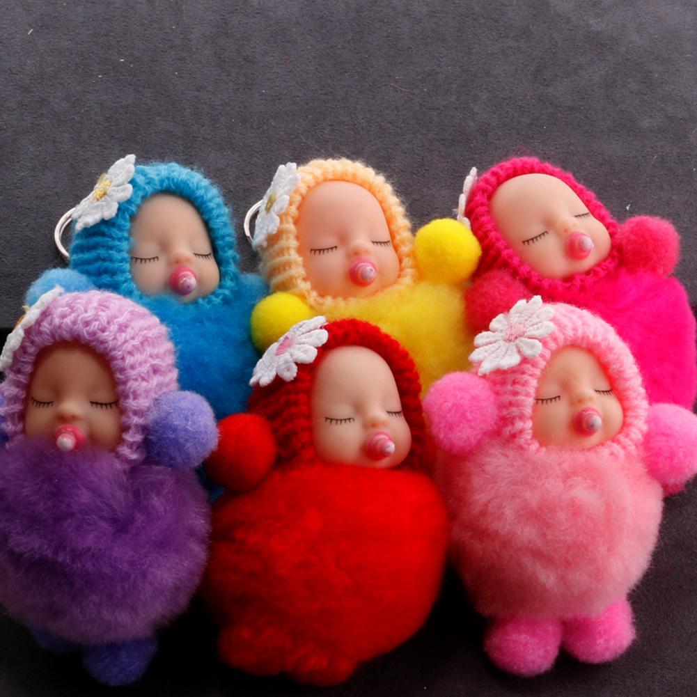 Fluffy Nipple Hand Foot Sleeping Baby Doll Pompom Key Ring Keychain Bag Pendant