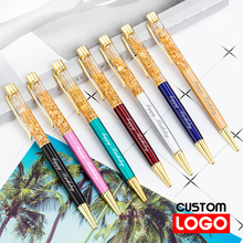 Creative Gold Foil Ballpoint Pen Advertising Pen Custom Logo Gift Metal Pen Stationery School Supplies  Lettering Engraved Name new engraved name pen gold foil metal ball point pen custom logo company name writing stationery gift office school pen with box