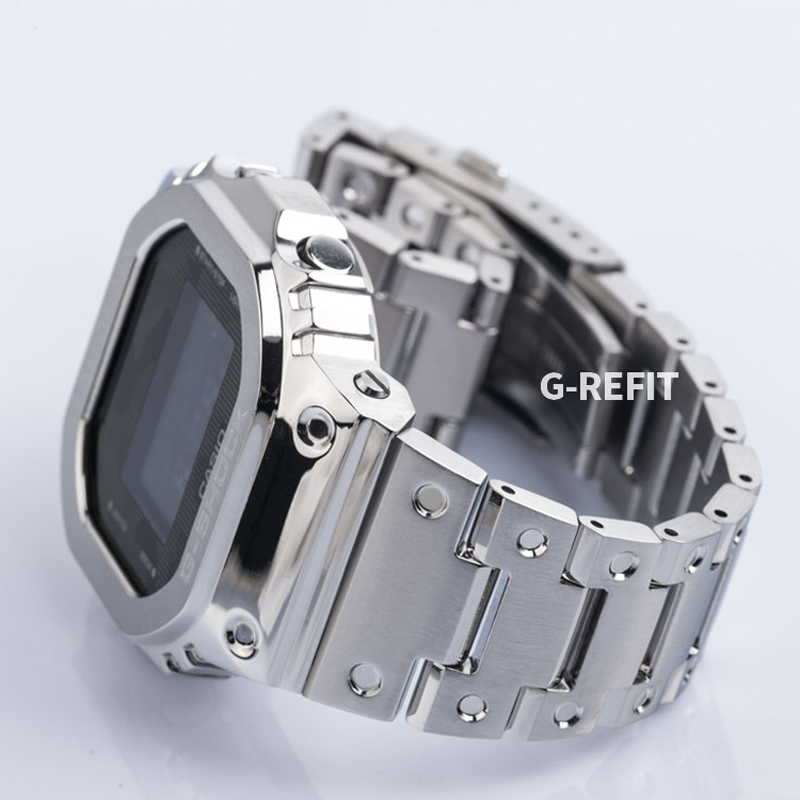 G-Refit Metal Watch band bezel Strap GM-5600 GA-2100 Camouflage Stainless Steel Watchband Frame Bracelet  with  Repal tools