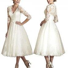 Vestidos de novia de encaje corto, longitud de té, manga larga, V, vestidos de novia cuello con, apliques de encaje, vestido de