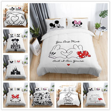 3pcs Black White Bedding Set Mickey Minnie Duvet Cover Home Textile Couple Wedding Quilt Adult  King Size