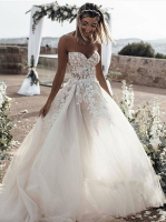 Vestido de Noiva Gorgeous White Sweetheart Sleeveless 2020 Wedding Dress Lace Appliques Princess Bridal Gown