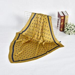 Image 5 - נשים מנוקדת מודפס רך רב תכליתי hankerchief צעיף femme מוסלמי חיג אב לעטוף בנדנה חיקה משי כיכר ראש צעיף