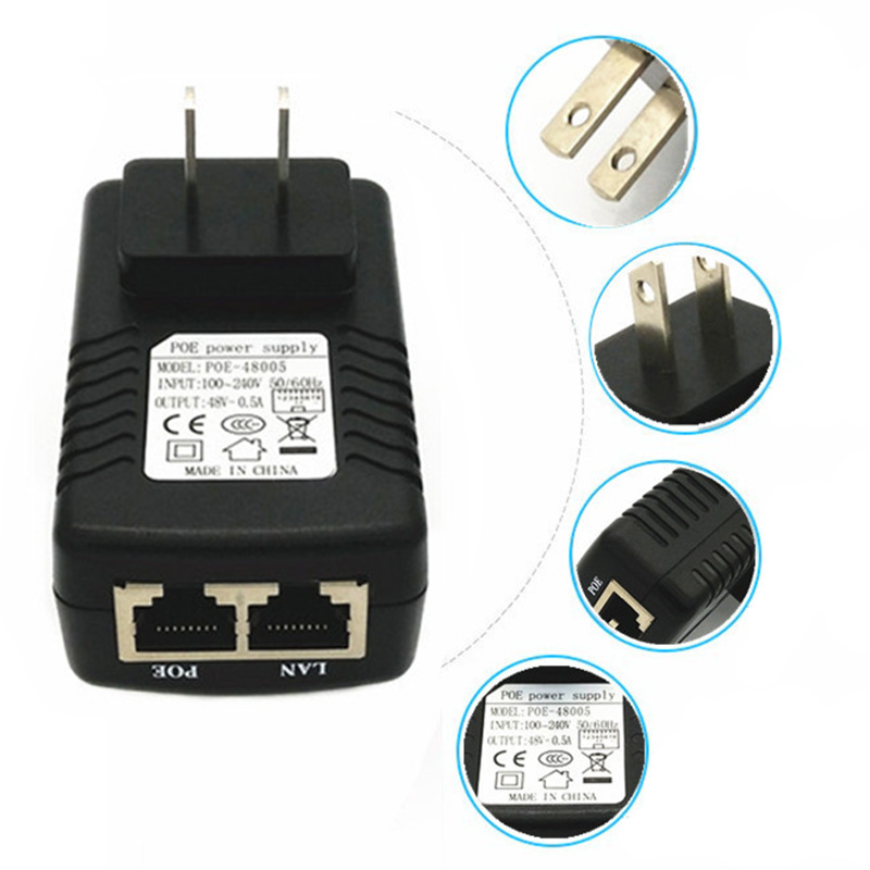 Inspction CCTV Security 48V 0.5A 24W POE Wall Plug POE Injector Ethernet Adapter IP Camera Phone PoE Power Supply EU Plug