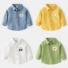 Tops Blouse Shirt Lapel-Collar Long-Sleeves Kids Cotton Children Thin Cartoon Casual