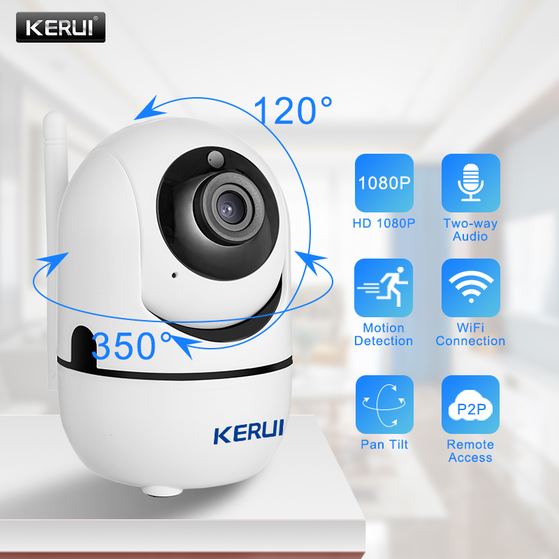 KERUI Camera Wifi 1080P IP Camera Surveillance Security Monitor WiFi Wireless Mini CCTV Indoor Camera