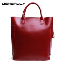 Fashion Simple Cow Leather Bag Women High Capacity Vintage Genuine Leather Handbags Ladies Large Cowhide Leather Top-handle Bags