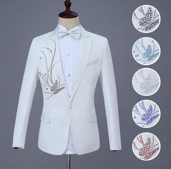 Hot drilling butterfly blazer men suit set with pants groom suit wedding mens costume singer stage clothing formal dress black