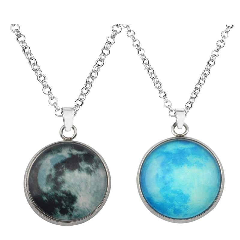 Glow in the Dark Pendant Necklace Luminous Star Series Moon Planet Necklaces Charm Link Chain Jewelry For Men Women