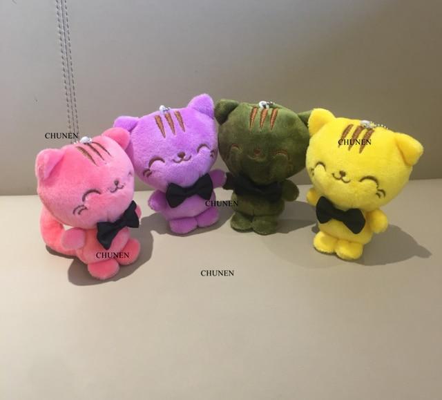 Adorable juguete de peluche de gato de 10 CM, muñeco de peluche de gato de juguete; llavero de regalo de peluche de ramo de boda