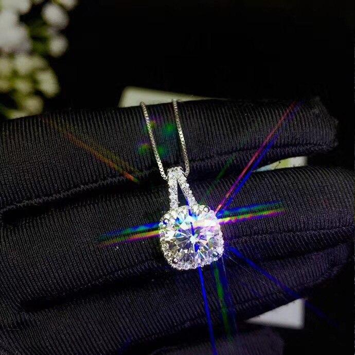 Almei livraison directe 925 en argent Sterling D Grade naturel Mosang diamant carré pendentif collier pierres précieuses bijoux de mariage 25% FN694