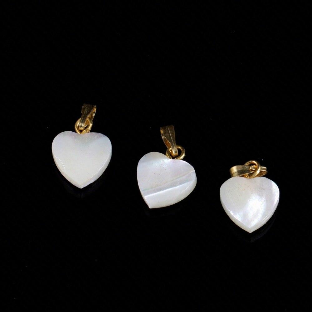 Moda 1 pçs natural mãe de pérola branco concha pingentes coração forma pingente encantos para fazer jóias colar acessórios