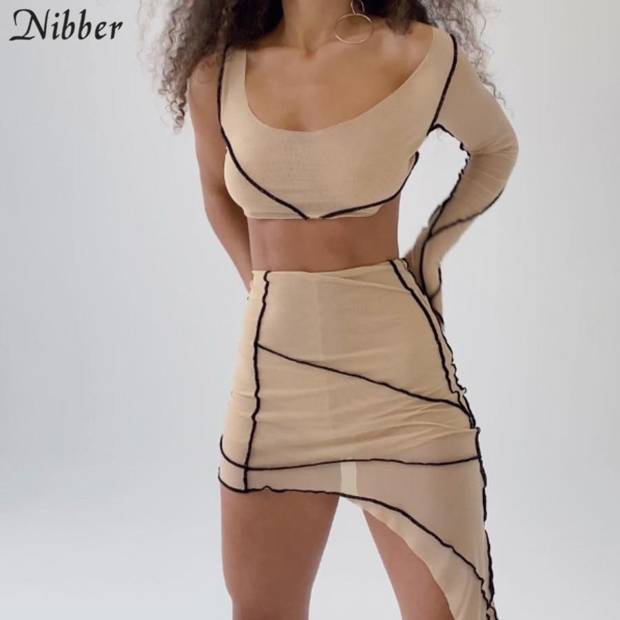 Nibber sexy club mesh przezroczysty Patchwork asymetria Bodycon 2 kawałki zestaw kobiet z długim rękawem krótki top i chudy mini skrit zestaw