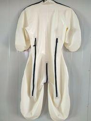 Gummi Latexanzug Zentai Catsuit Gummi Cosplay Weiß Body 0,4mm Größe S-XXL