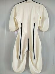 Gummi  Latexanzug Zentai Catsuit Rubber Cosplay White Bodysuit 0.4mm Size S-XXL