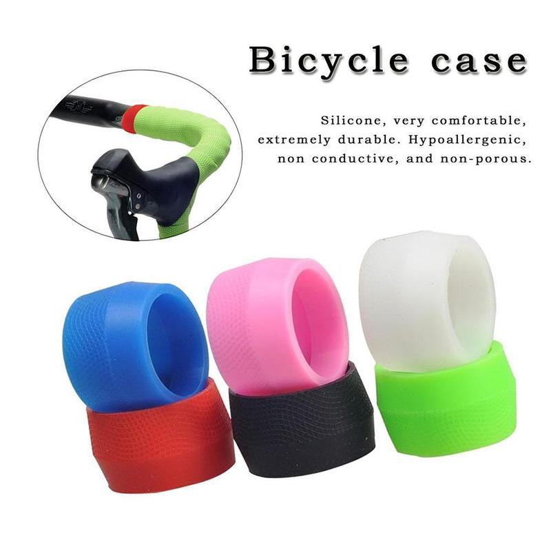 1 Pair Cycling Bike Silicone Plug Bicycle Anti-slip Silicone Handlebar Tape Buckle Sleeve Fixed Ring Bicycle Accessories 6 Color