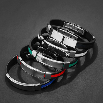 2019 High Quality Titanium Steel Stainless Steel Accessories Charm 5 Clolor Bracelet Silicone Bangle Man Fashion Gift Jewelry 1