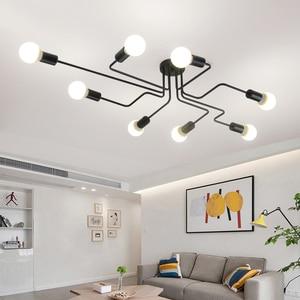 Image 1 - Luminária led suspensa industrial, pingente de ferro, vintage, aranha, ferro, suspensão, para sala de estar, quarto, sala de jantar, bar