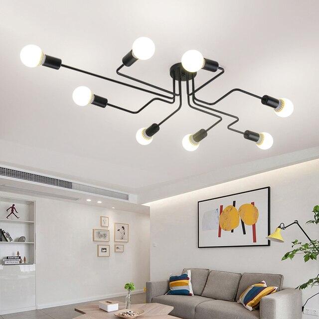 Luminária led suspensa industrial, pingente de ferro, vintage, aranha, ferro, suspensão, para sala de estar, quarto, sala de jantar, bar