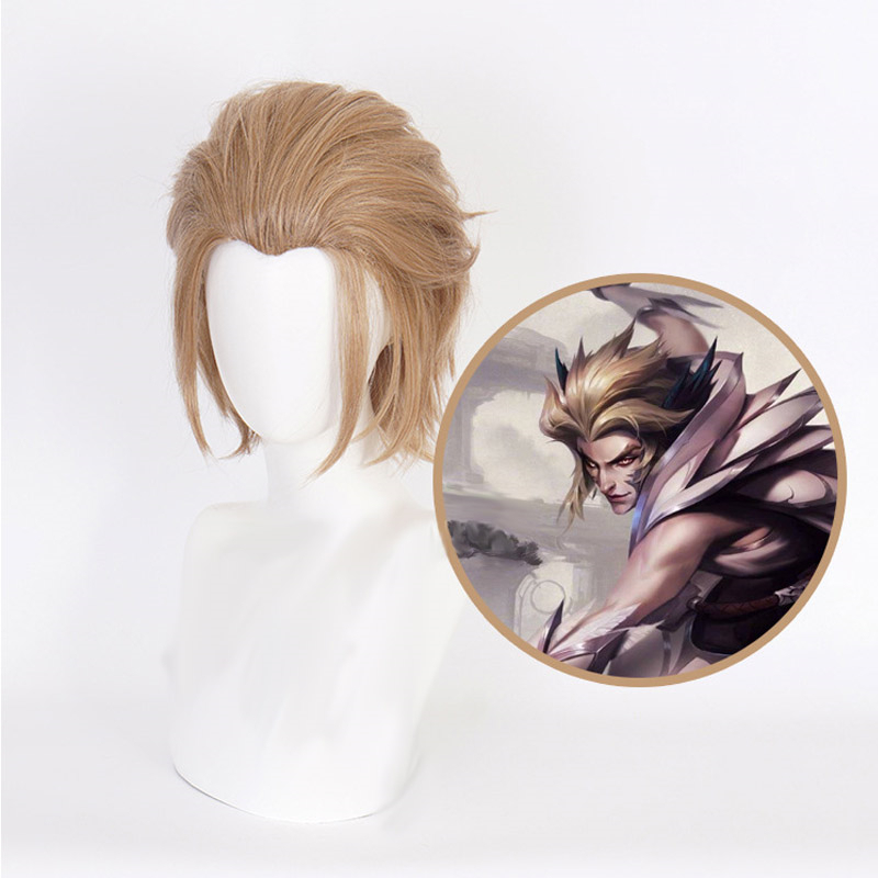 Game LOL <font><b>League</b></font> <font><b>of</b></font> <font><b>Legends</b></font> Rakan <font><b>Cosplay</b></font> Wigs Brown short Heat Resistant Synthetic Hair Wig Halloween Party Costume Play Wig image
