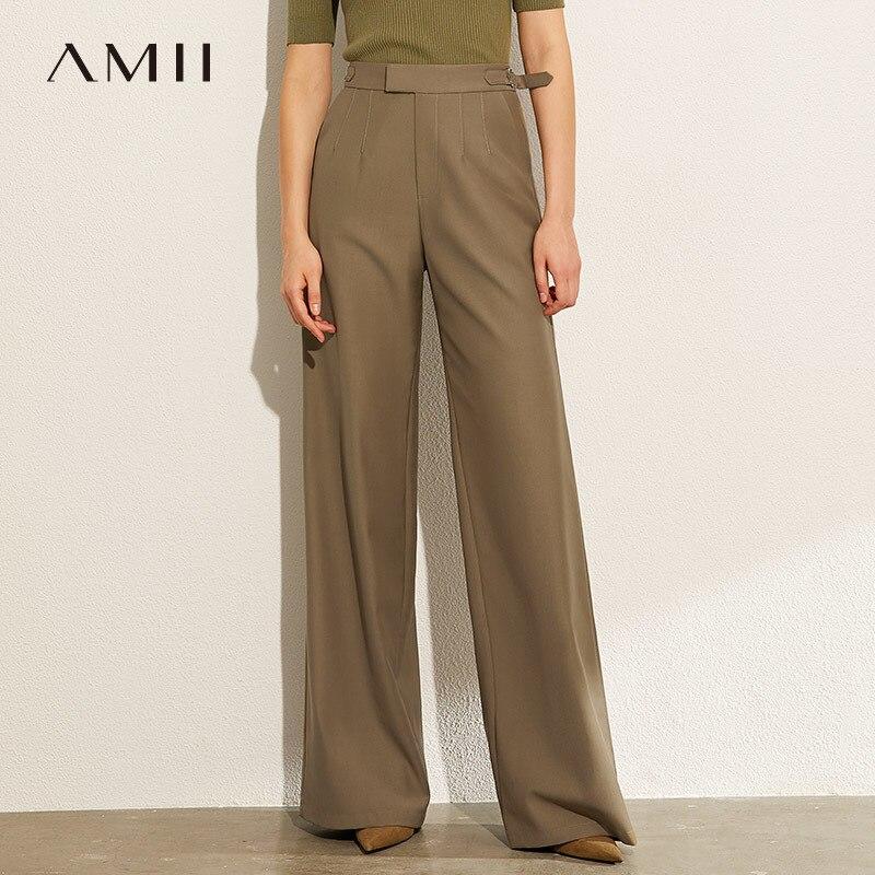 AMII Minimalismus Herbst Britischen Stil Feste Lose Frauen Breite Bein Hosen Kausalen Hohe Taille Weibliche Lange Hose 12070196