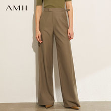 AMII-pantalones holgados de pierna ancha para mujer, pantalón informal, de cintura alta, estilo británico, Otoño, 12070196
