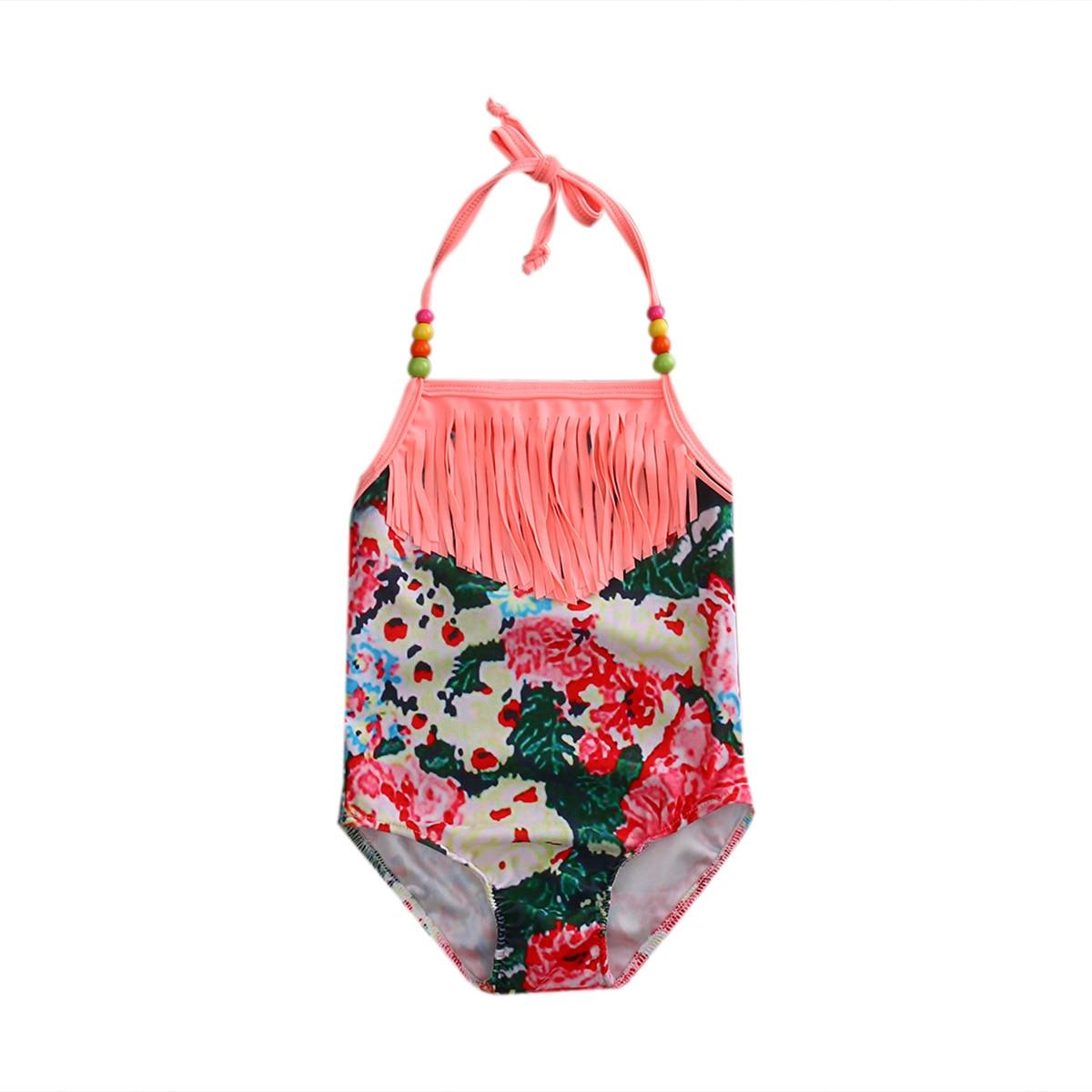 KID'S Swimwear Girls Cute Little Princess Floral-Print One-piece Swimming Suit-Style Tassels Beaded Bracelet Halter Bathing Suit
