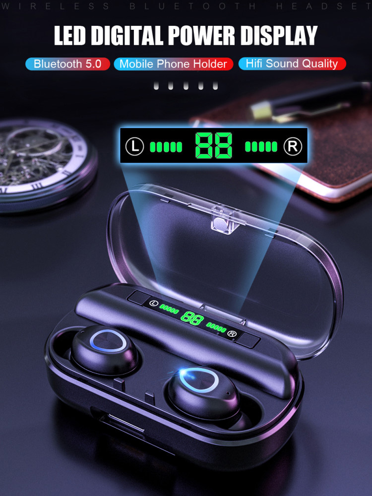 TWS Bluetooth Earphone Headsets Led-Display Noise Cancelling Wireless with Waterproof