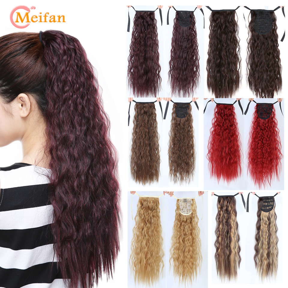 MEIFAN Long Kinky Curly Synthetic Natural Ponytail Clip-in Hair Tail Ponytail Hair Extension Heat Resistant Fake Hair Pieces
