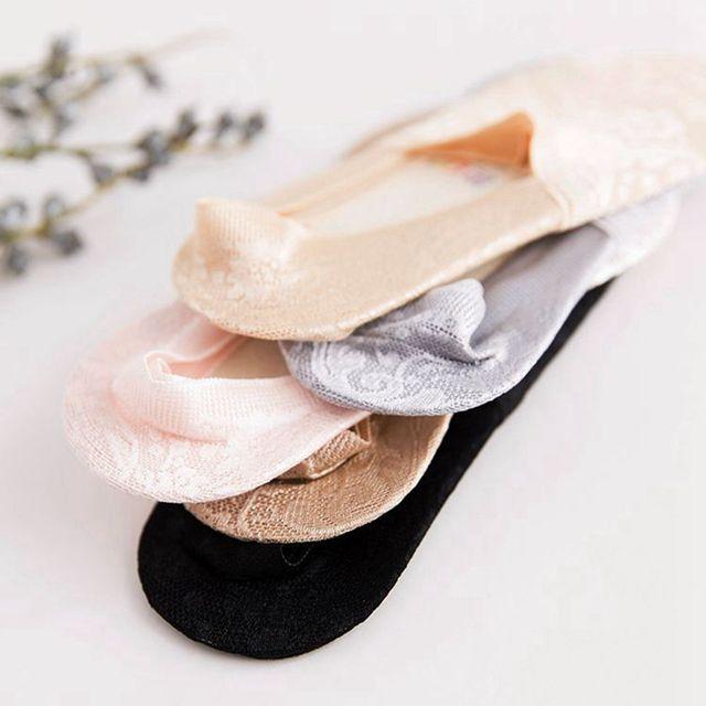 Women Girls Summer Style Lace Flower Short Sock- Antiskid Invisible Ankle Socks  6