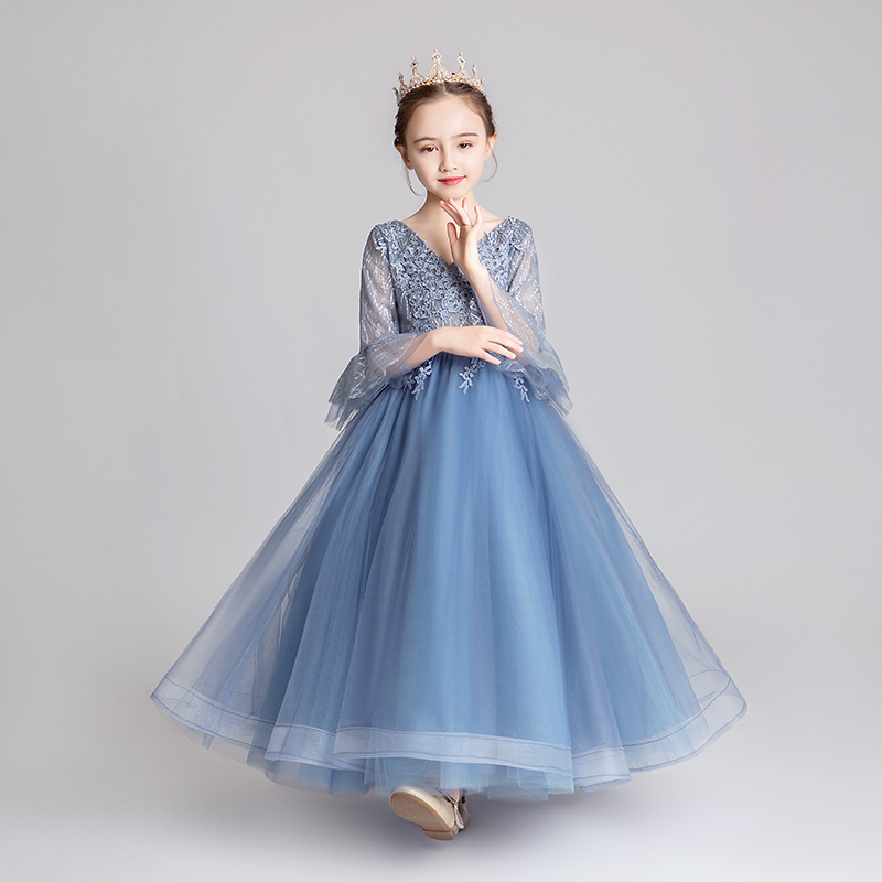 Girls Birthday Princess Dress Puffy Yarn Children Catwalks Evening Gown New Style Little Girl Host Piano Costume